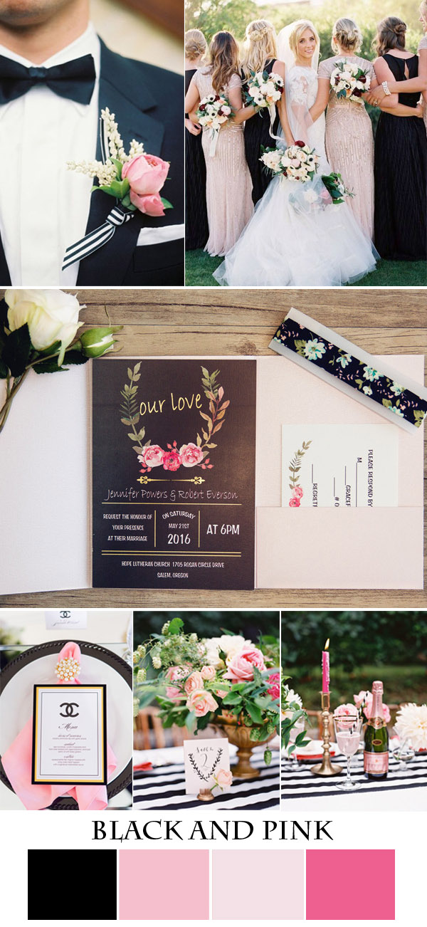 black,pink and glitter garden wedding ideas