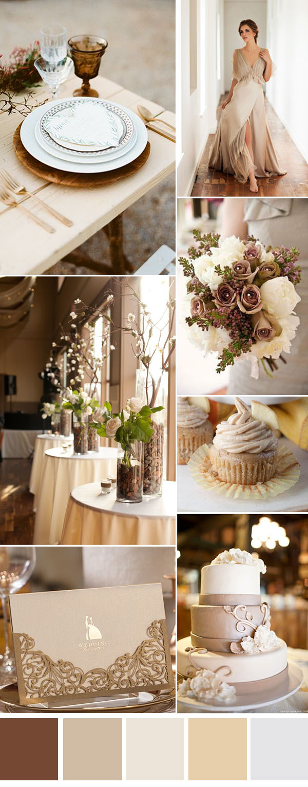 brown and cream neutral wedding color inspiration