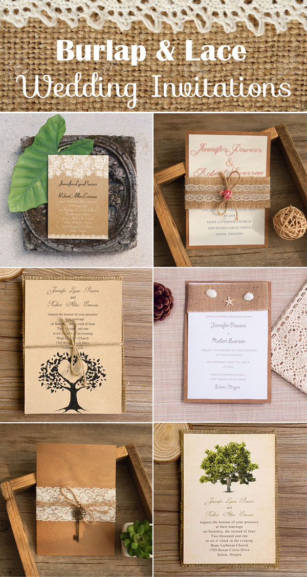 The most complete burlap rustic wedding ideas for your inspiration burlap and lace rustic and vintage wedding invitations solutioingenieria Choice Image