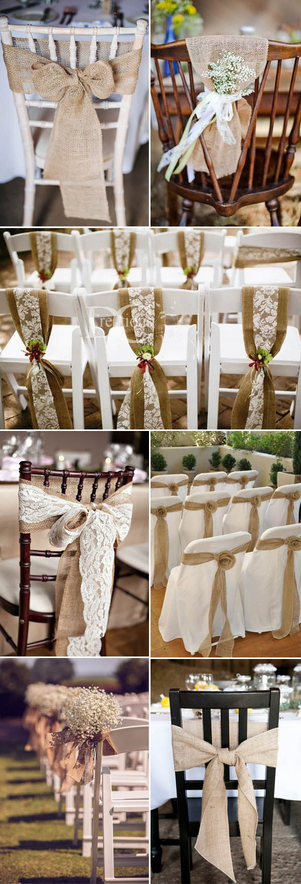 The most complete burlap rustic wedding ideas for your for Table and chair decorations for weddings
