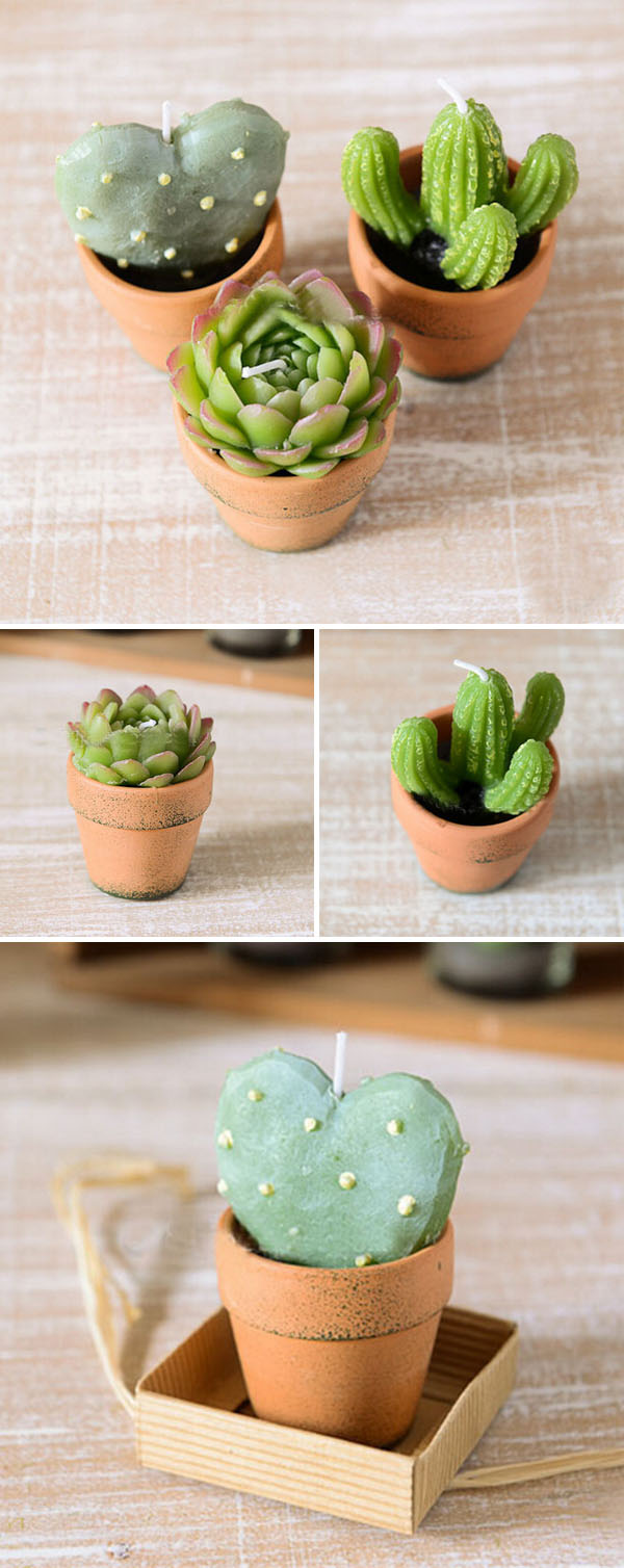 cactus candle lights in teapot holders
