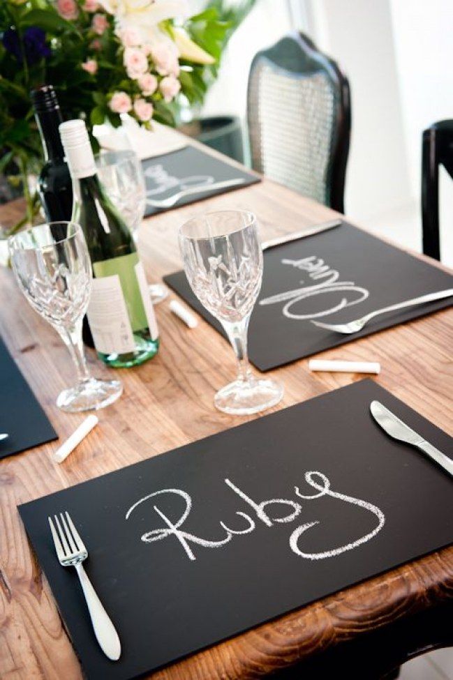 chalkboard placemats for weddings