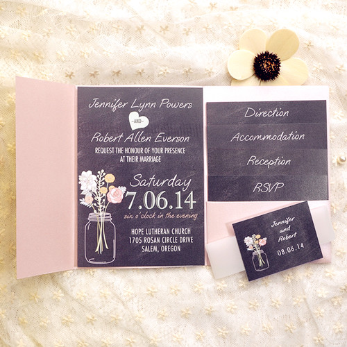 cheap mason jars floral boho pocket wedding invitations