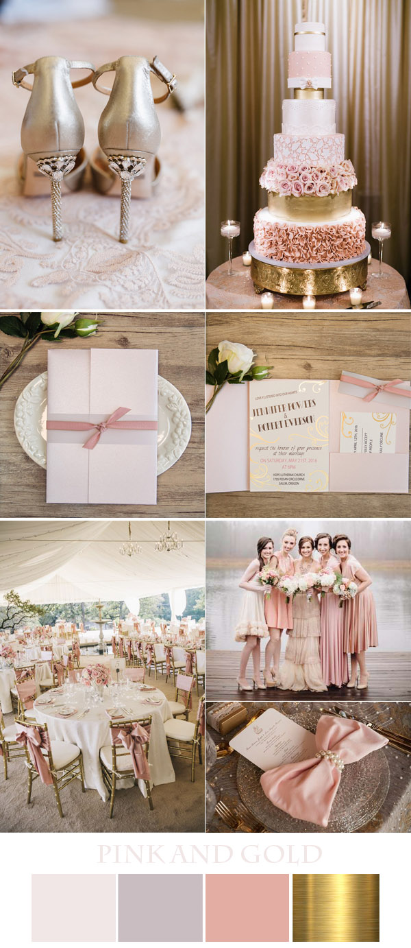 chic pink weddings and invitations in glitter and metallic