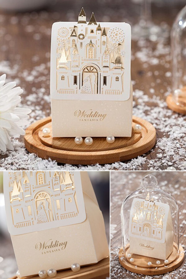 laser cut and foil disney wedding favor box