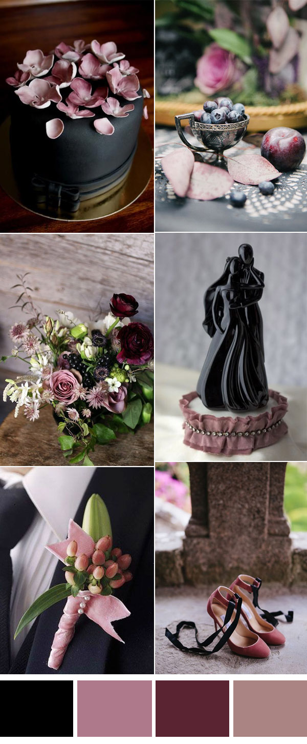 mauve and black sophisticated wedding inspiration