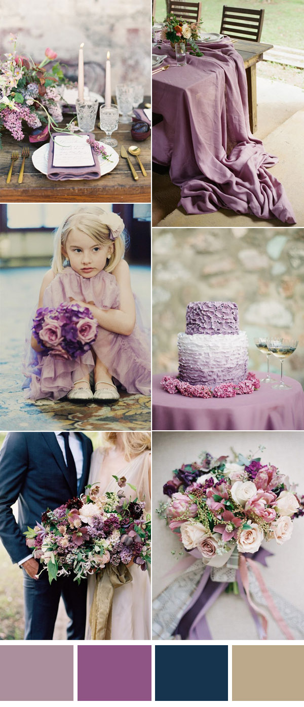 mauve and purple forest wedding inspiraiton