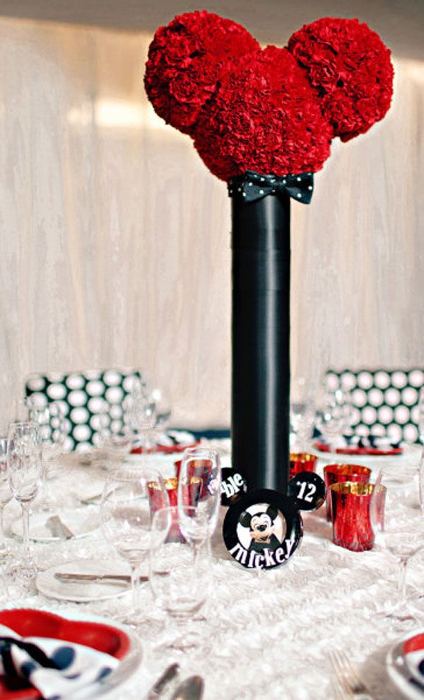 mickey mouse inspired disney wedding centerpieces