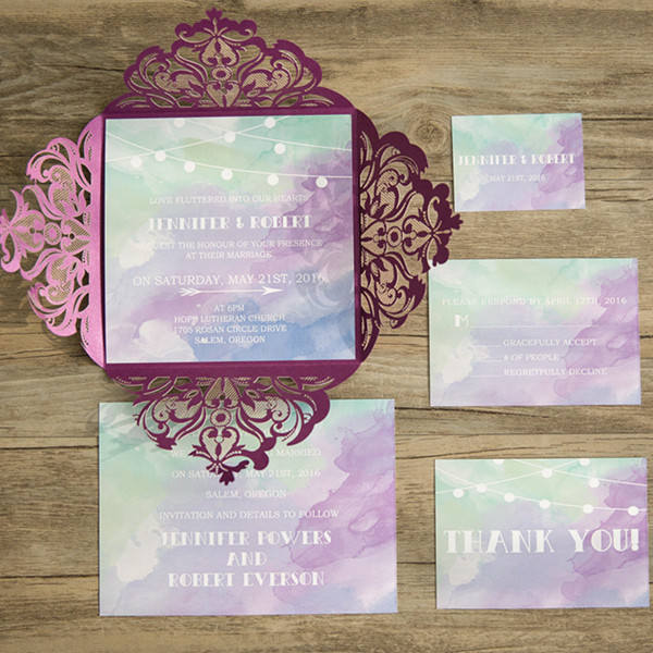 purple and mint watercolor laser cut wedding invites