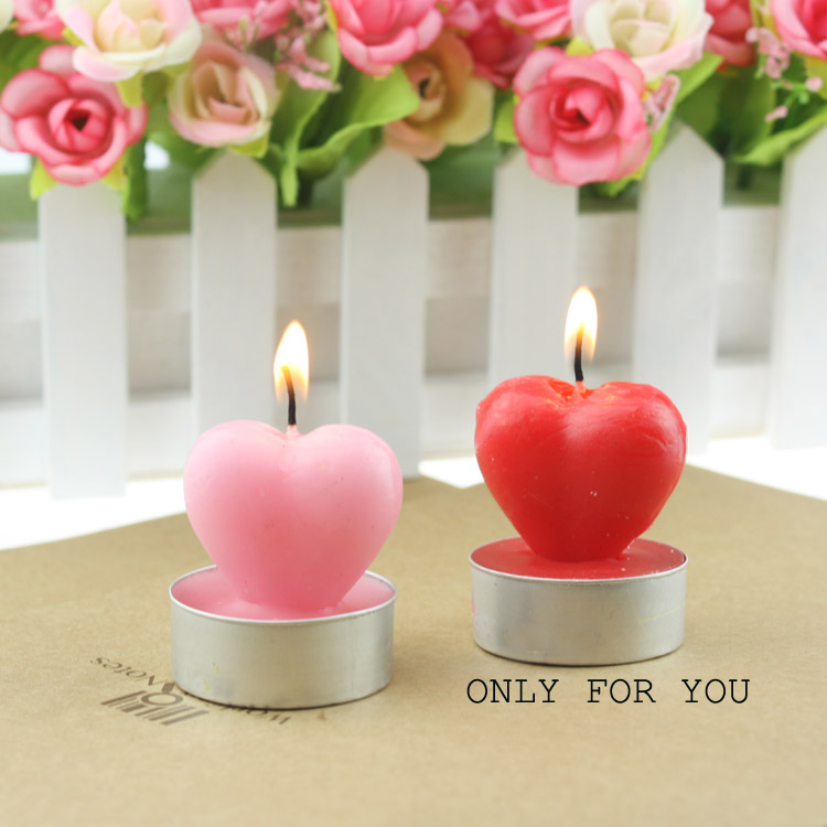 red hearts shaped candles wedding gifts
