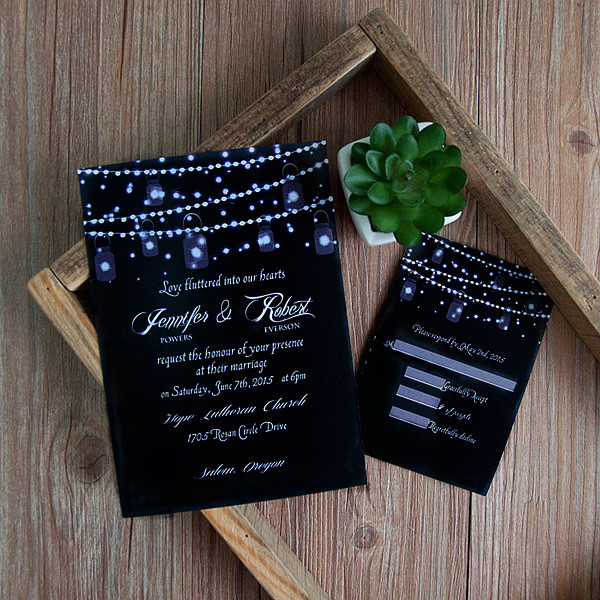 romantic string lights mason jar wedding invitation