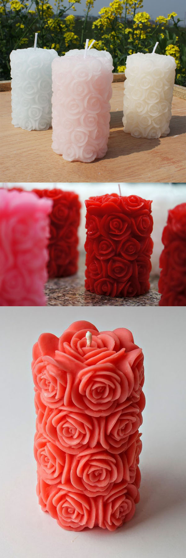 rose flower designed candles