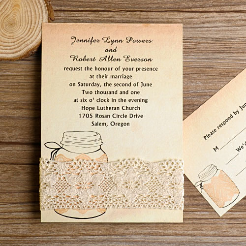 rustic lace and mason jar wedding invites