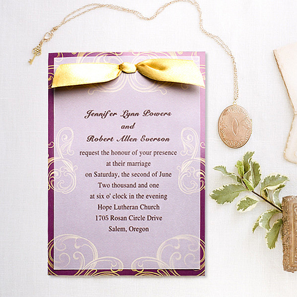 vintage gold and purple layered wedding invites