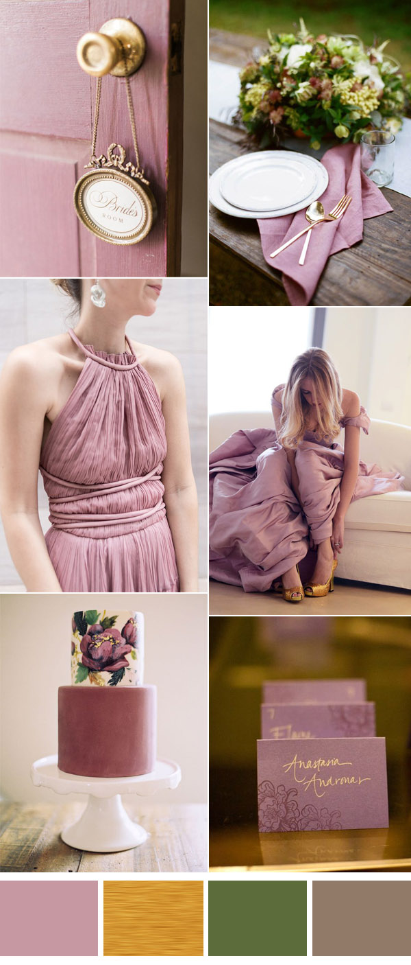 vintage mauve and gold wedding ideas