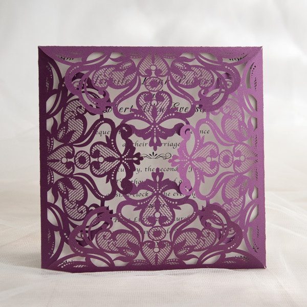 affordable elegant purple laser cut wedding invites