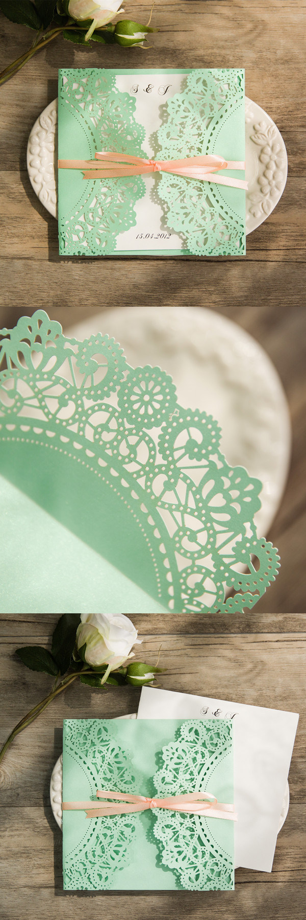 affordable-mint-and-peach-ribbon-laser-cut-wedding-invites