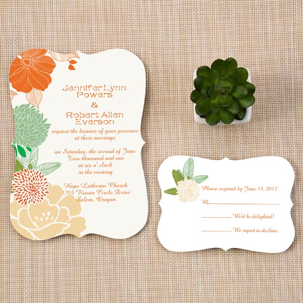affordable boho themed peach and green wedding invitations