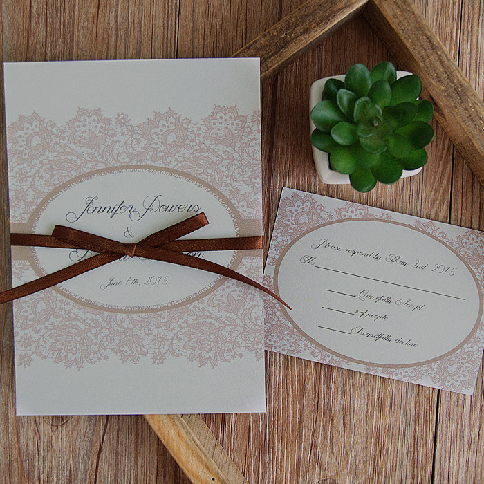 cheap elegant ribbon double printing wedding invitation
