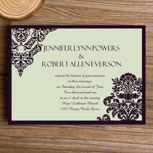 cheap formal damask wedding invites