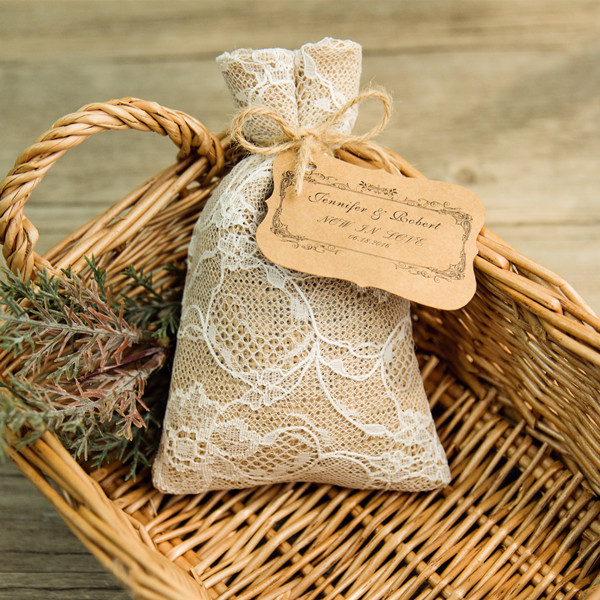 cheap hessian favor bags with tags