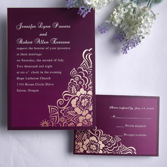 cheap vintage purple and gold wedding invites