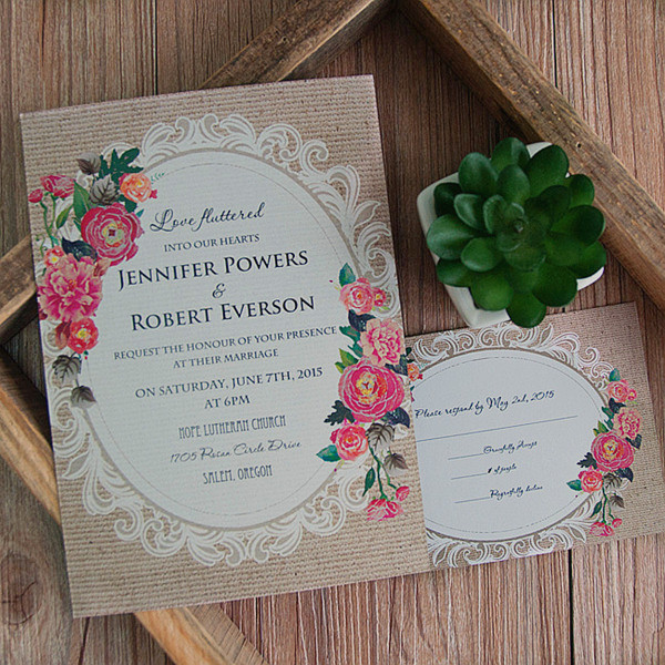 cheap vintage rustic roses wedding invitations