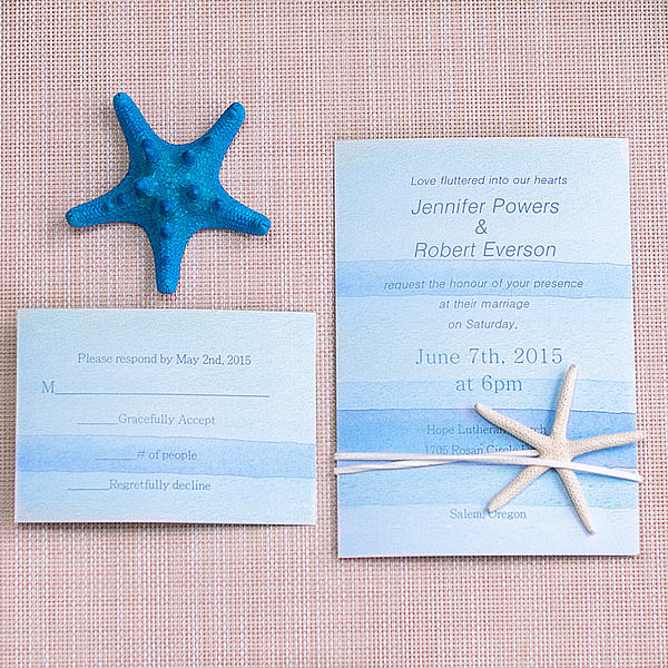 cheap watercolor beach wedding invitation with starfish
