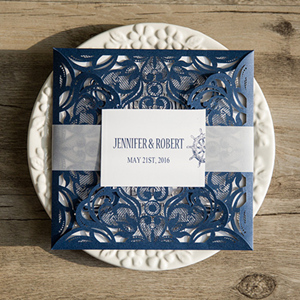 classic navy blue wedding invitations