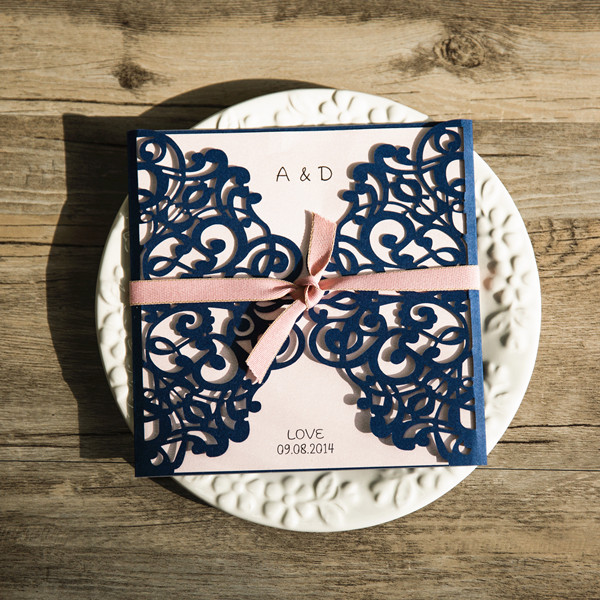 classic pink and navy laser cut wedding invitations
