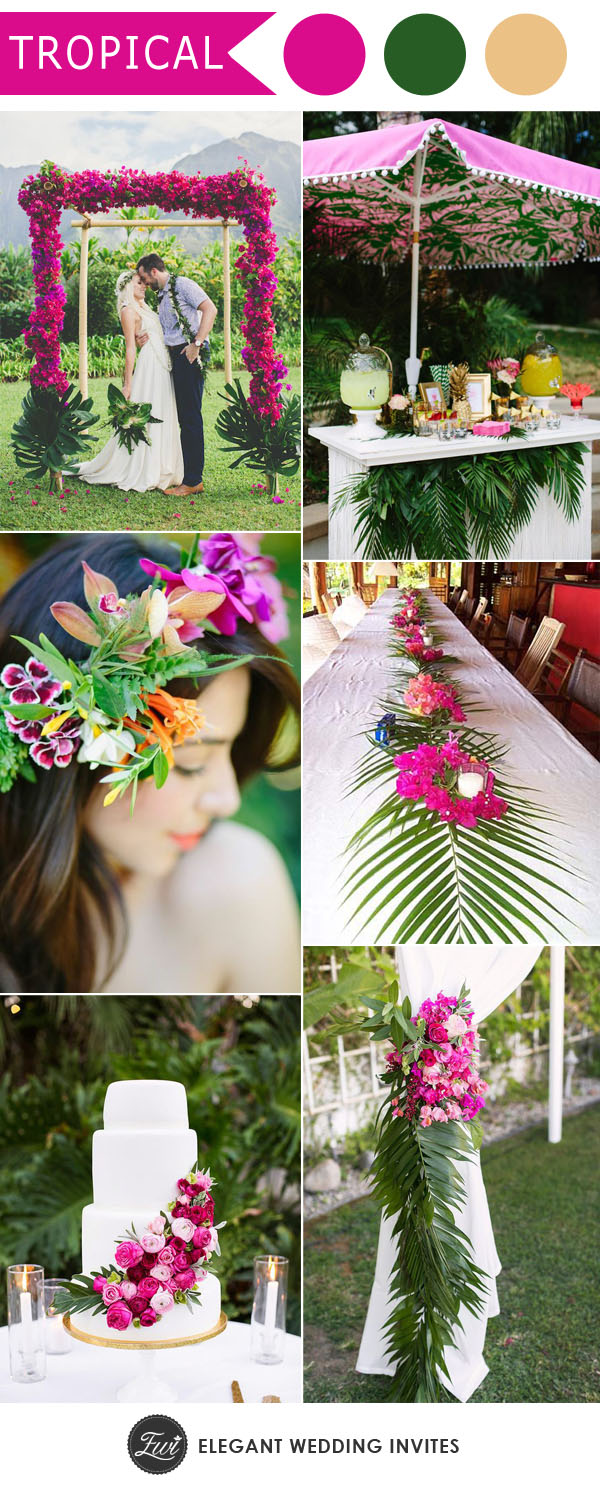 Colorful Hot Pink Tropical Theme Wedding Ideas For 2018