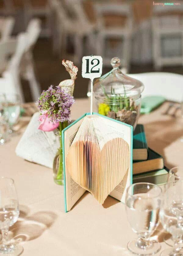 Diy Folded Heartbook Vintage Wedding Centerpieces