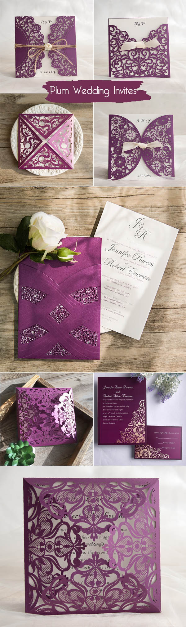 eight most popular plum purple wedding invitations from Elegant Wedding Invites