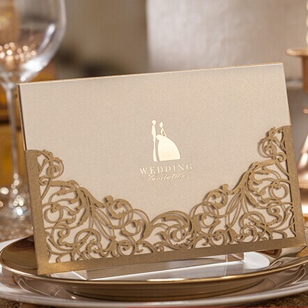 elegant metallic brown laser cut wedding invites