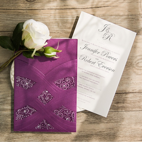 elegant purple and silver laser cut wedding invitation