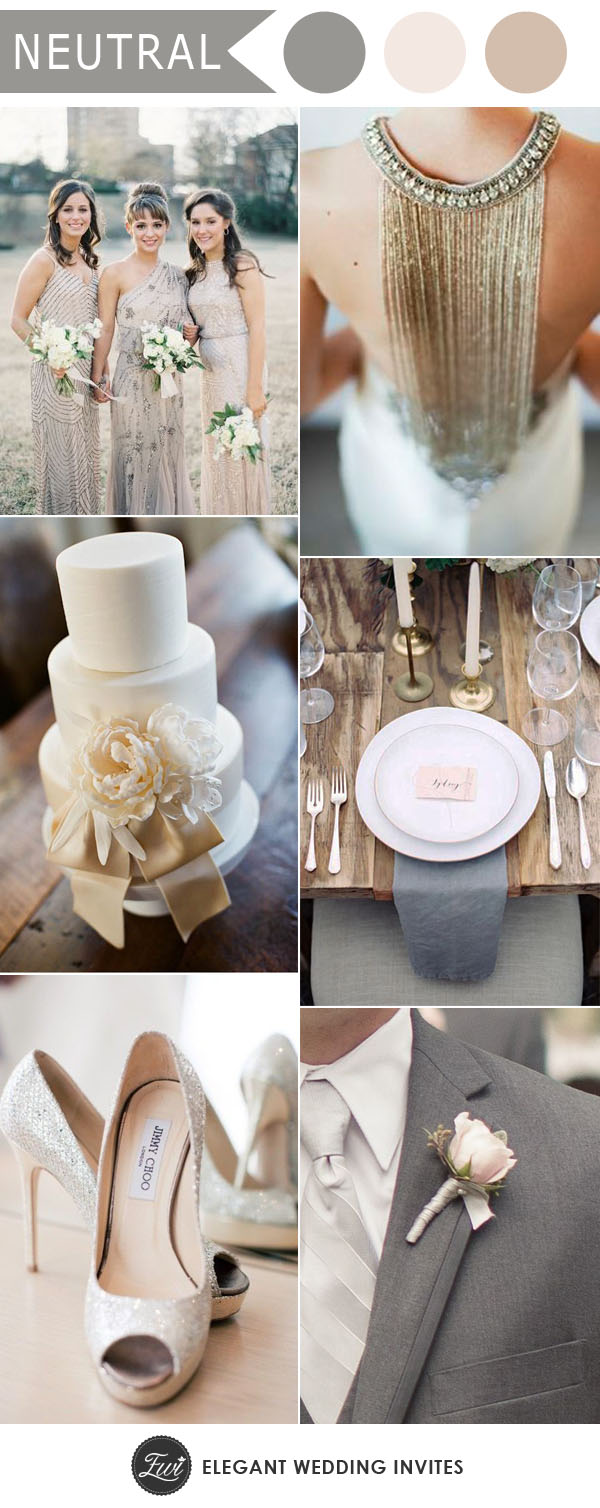 Ten trending wedding theme ideas for 2018 elegantweddinginvites elegant silver and ivory neutral wedding colors for 2018 wedding trends junglespirit Image collections