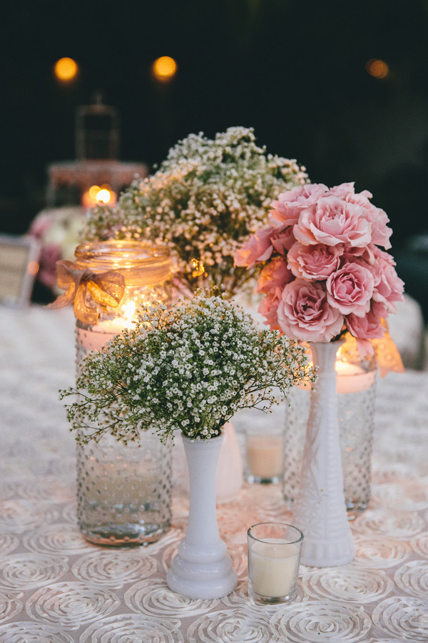 elegant vintage wedding centerpieces with baby's breath