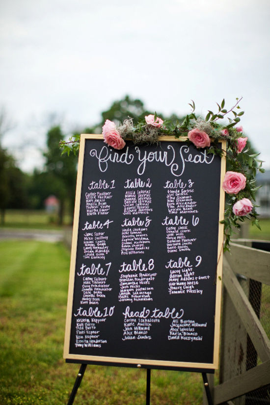 floral decorated chalkboard wedding seating chart