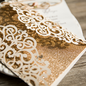 glittery laser cut wedding invitations