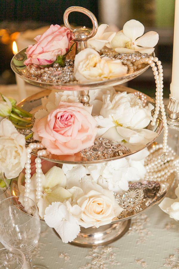gorgeous vintage floral and pearl wedding centerpieces