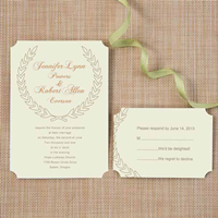 inexpensive-green-leaves-bohemian-ticket-shape-wedding-invitations-EWIr276
