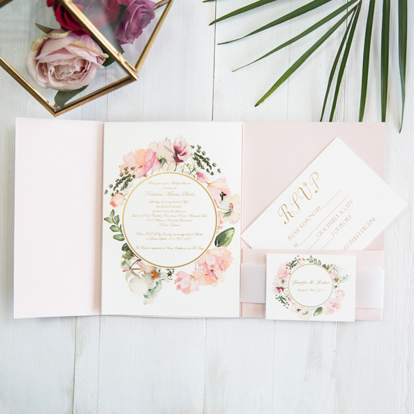 romantic blush pink floral watercolor wedding invitations