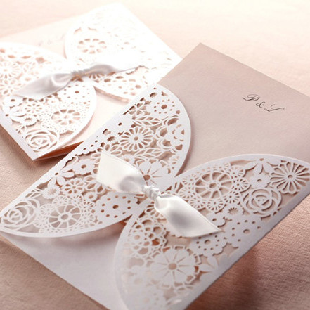 romantic laser cut blush pink wedding invitation