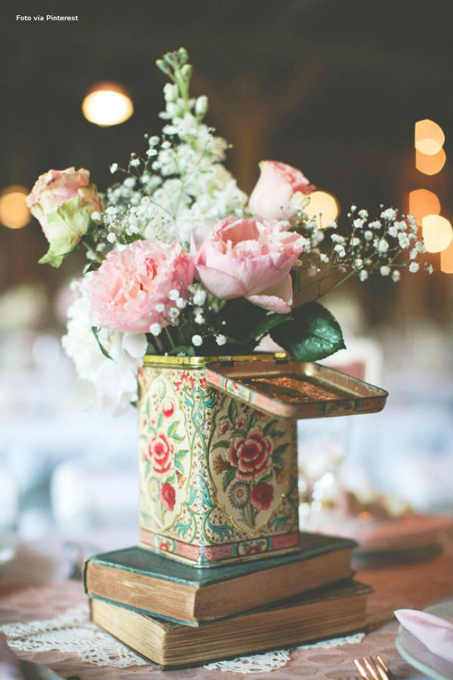 rose wedding centerpiece in vintage tea tin