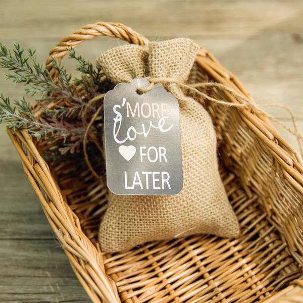 rustic burlap favor bags with chalkboard tags