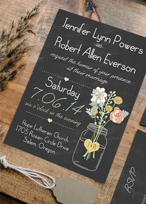 rustic chalkboard wedding invitations with mason jars