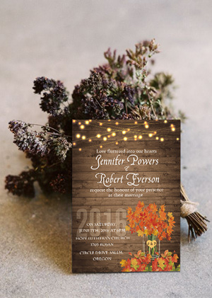 rustic fall wedding invitation cards