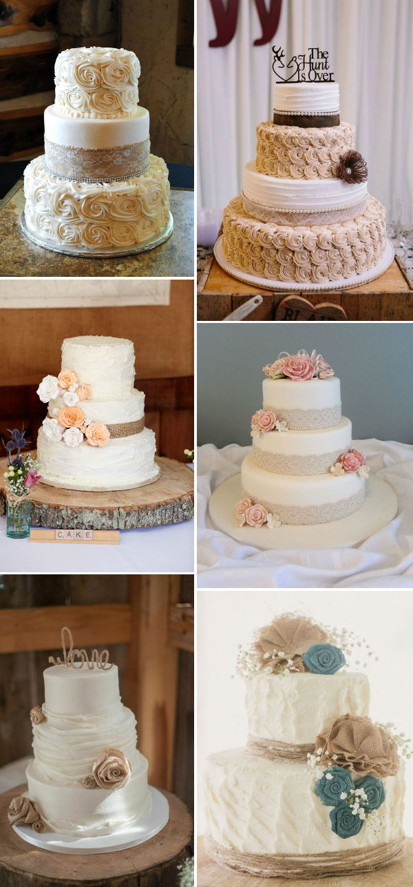 Rustic Inspired Burlap And Lace Wedding Cakes