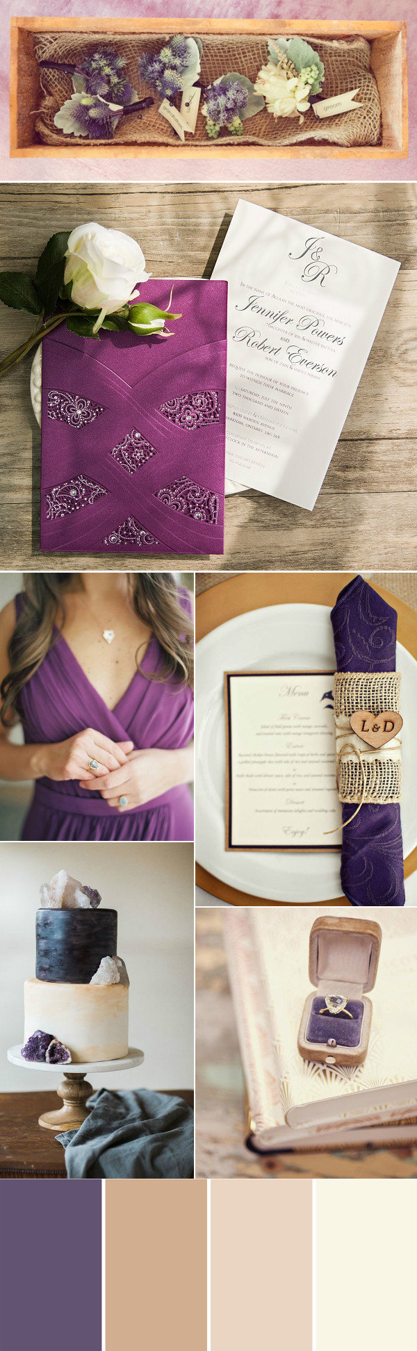 rustic purple brwon and nude fall wedding color ideas
