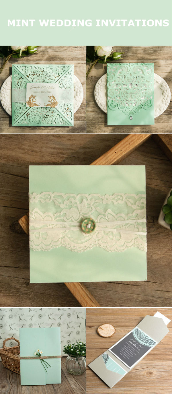 shabby chic mint wedding invitations
